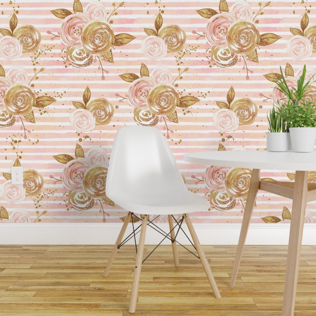 Rose Gold Glitter Floral On Isobar By Corasofia Roostery Home Decor
