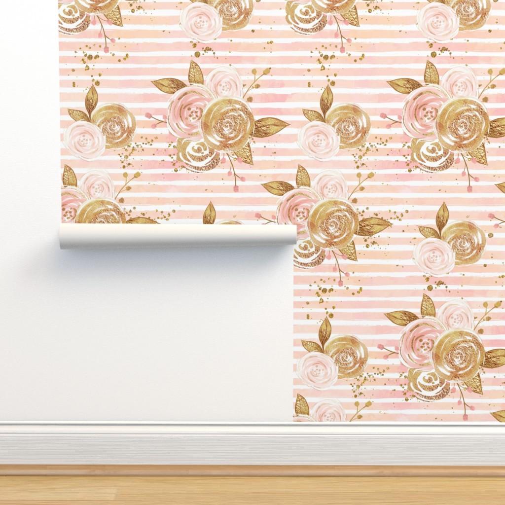 Rose Gold Floral Digital Paper Custom Designed Graphic Patterns
