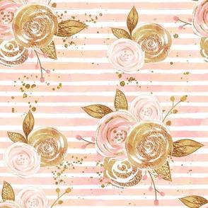Rose Gold Glitter Floral