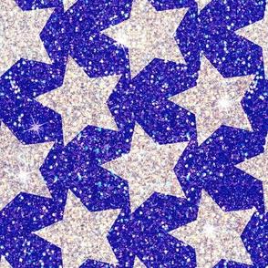 Stars Silver glitter Royal blue 4th of July