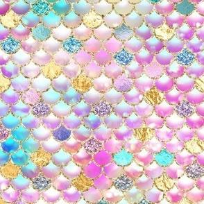 Mermaid scales bokeh glitter