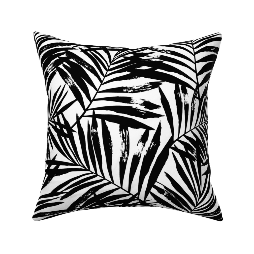 Catalan Throw Pillow featuring brush palm leaves - black on white, large by mirabelleprint