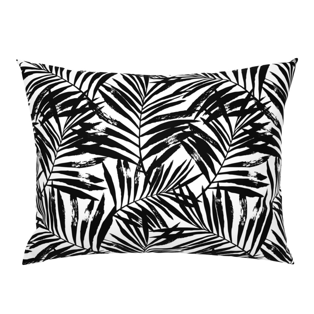 Campine Pillow Sham featuring brush palm leaves - black on white, large by mirabelleprint