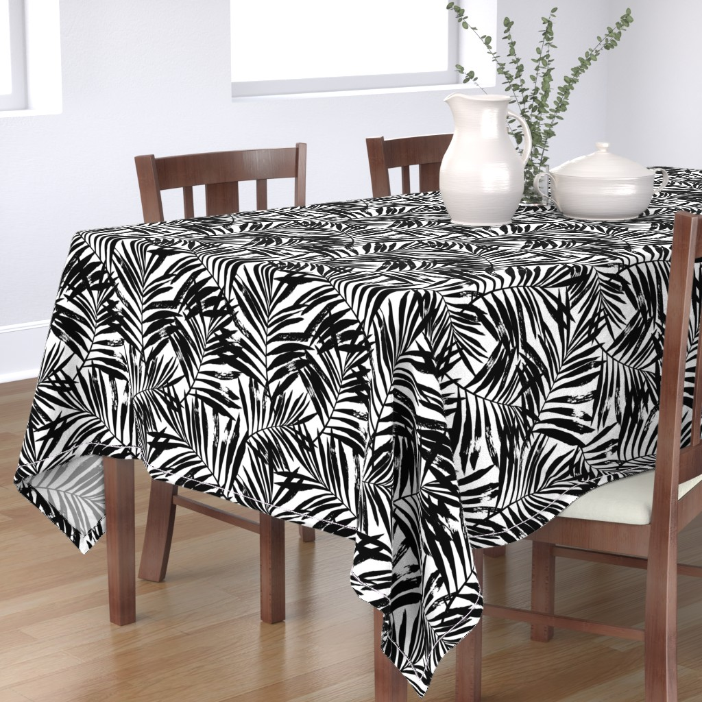 Bantam Rectangular Tablecloth featuring brush palm leaves - black on white, large by mirabelleprint