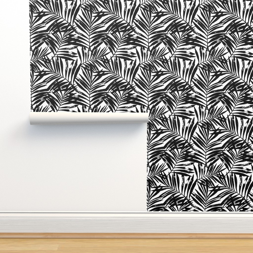 Isobar Durable Wallpaper featuring brush palm leaves - black on white, large by mirabelleprint
