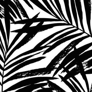 brush palm leaves - black on white, large