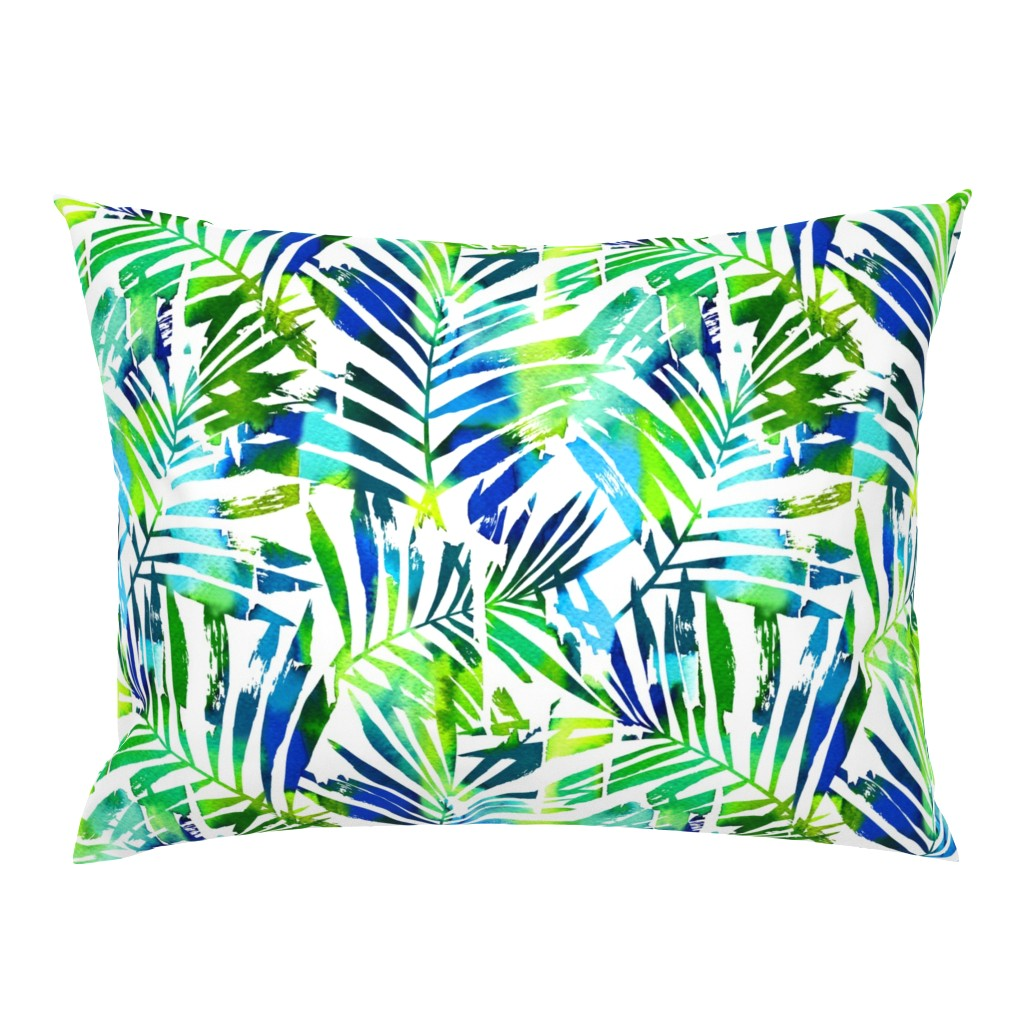 Campine Pillow Sham featuring watercolor palm leaves  by mirabelleprint