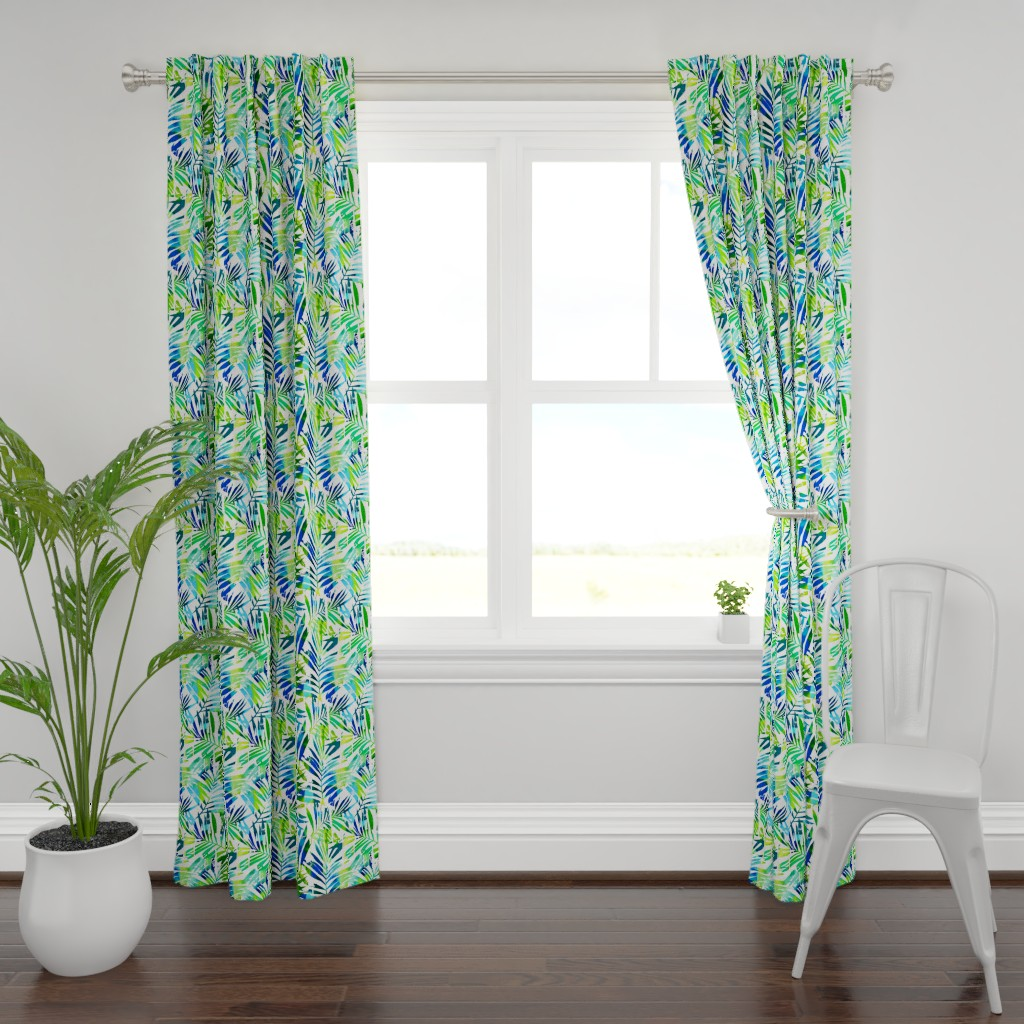 Plymouth Curtain Panel featuring watercolor palm leaves  by mirabelleprint