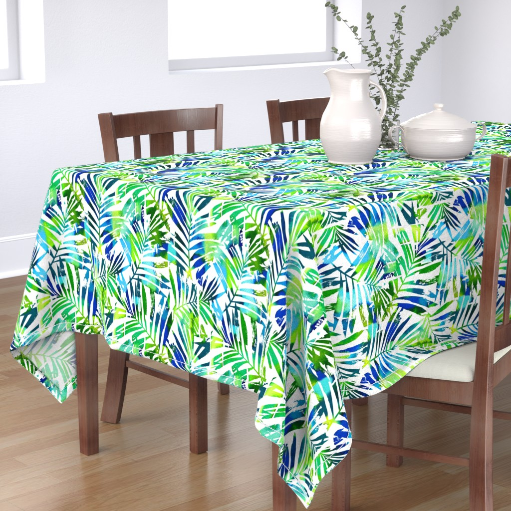 Bantam Rectangular Tablecloth featuring watercolor palm leaves  by mirabelleprint