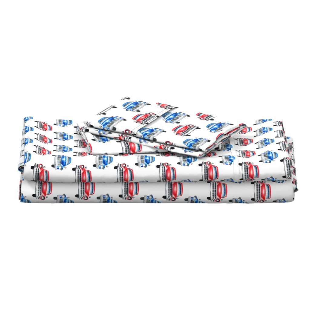 Langshan Full Bed Set featuring red and blue watercolor oldtimer cars - white by mirabelleprint