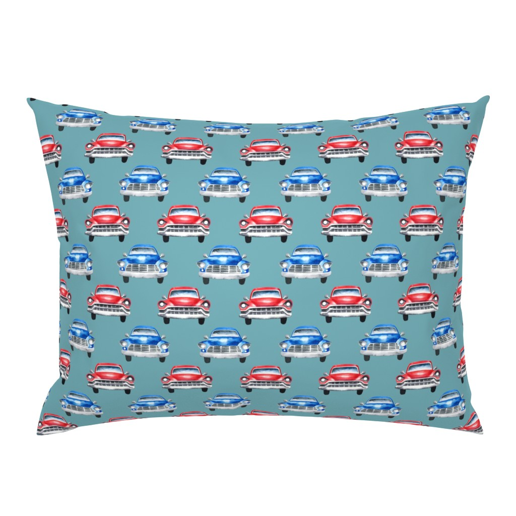 Campine Pillow Sham featuring red and blue watercolor oldtimer cars - teal by mirabelleprint