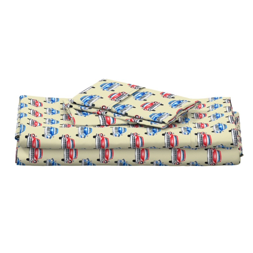 Langshan Full Bed Set featuring red and blue watercolor oldtimer cars - cream by mirabelleprint