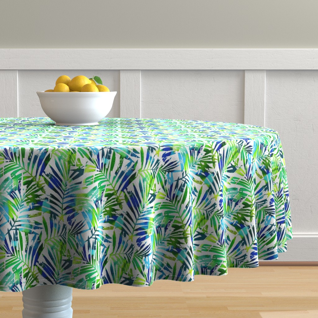 Malay Round Tablecloth featuring watercolor palm leaves - white, small by mirabelleprint