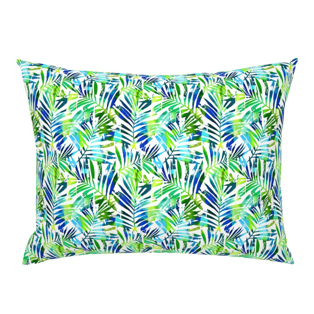 Campine Pillow Sham featuring watercolor palm leaves - white, small by mirabelleprint