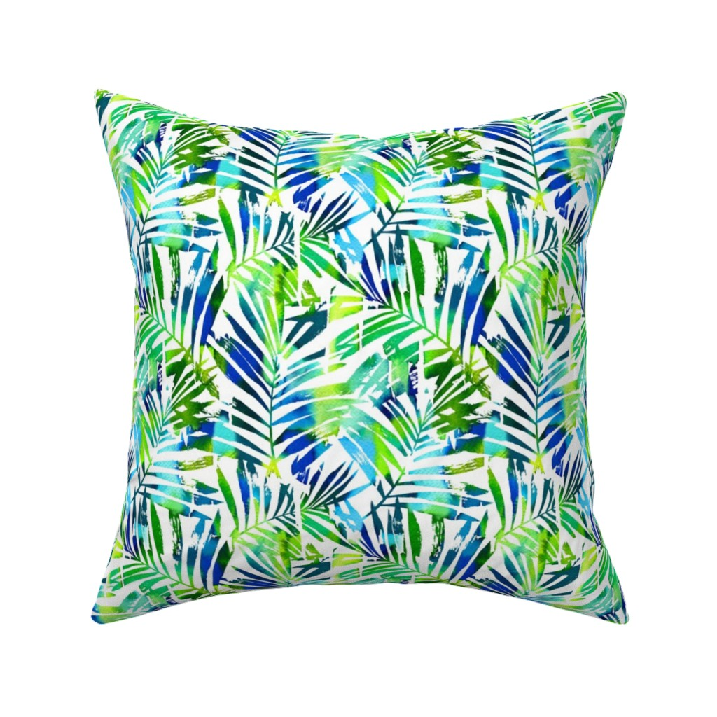 Catalan Throw Pillow featuring watercolor palm leaves - white, small by mirabelleprint