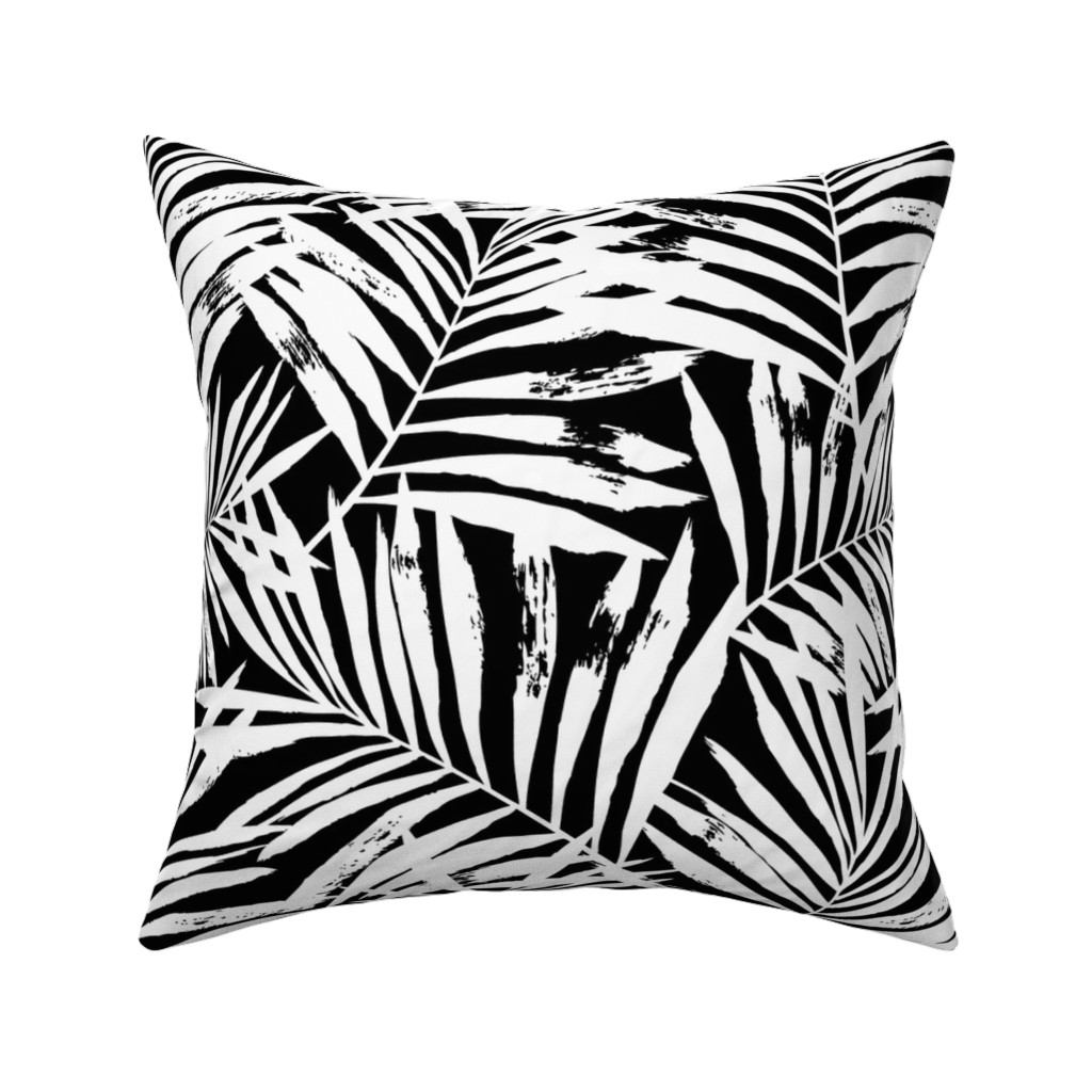 Catalan Throw Pillow featuring brush palm leaves - white on black, large by mirabelleprint