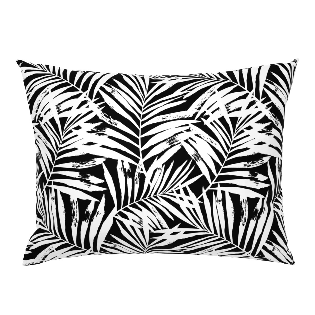 Campine Pillow Sham featuring brush palm leaves - white on black, large by mirabelleprint