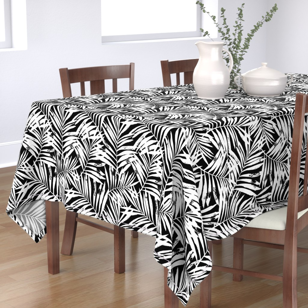 Bantam Rectangular Tablecloth featuring brush palm leaves - white on black, large by mirabelleprint