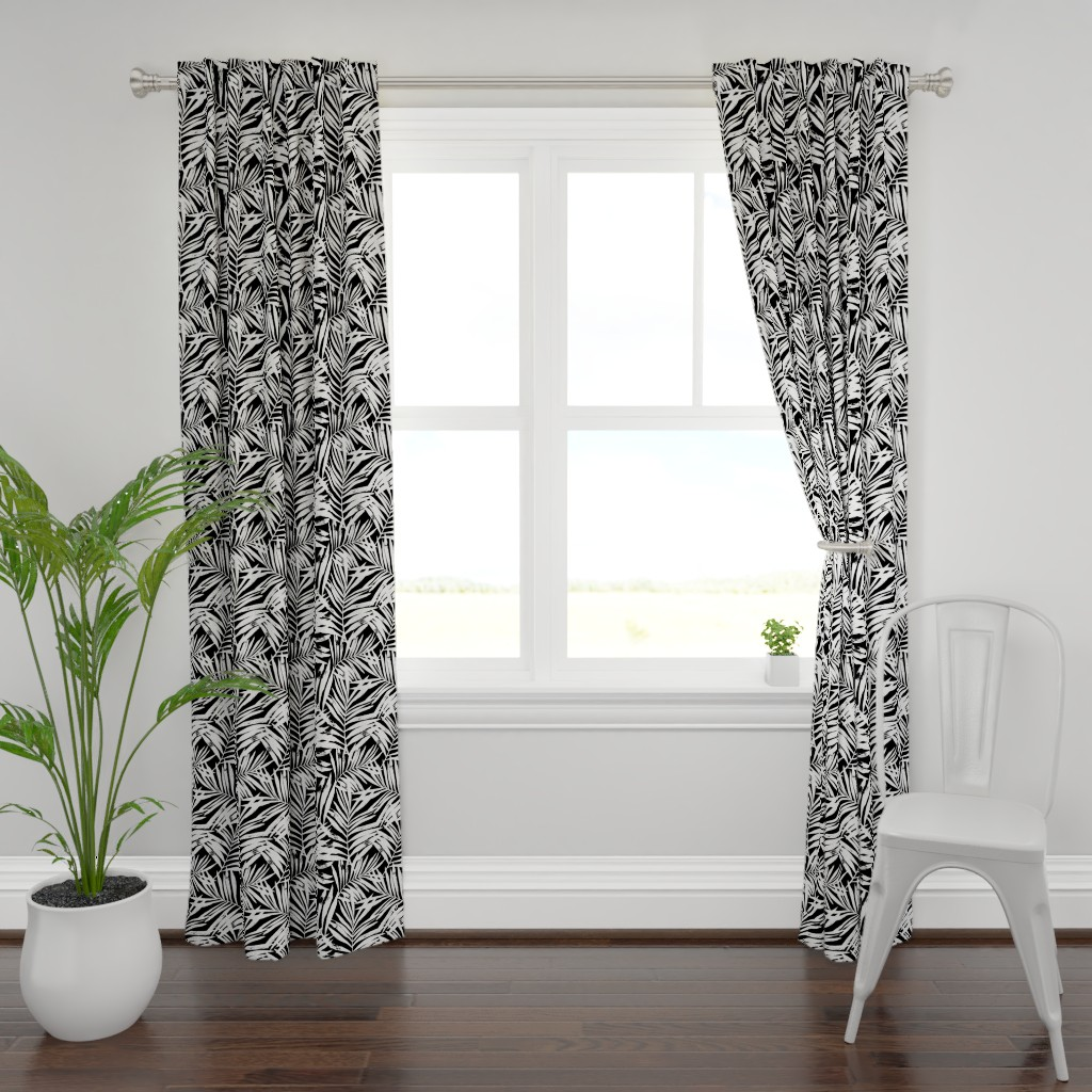 Plymouth Curtain Panel featuring brush palm leaves - white on black, large by mirabelleprint