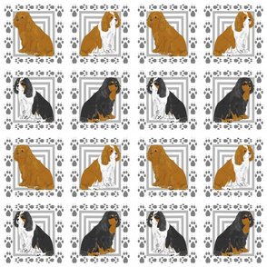 Updated colors Cavalier King Charles Spaniel quilting blocks