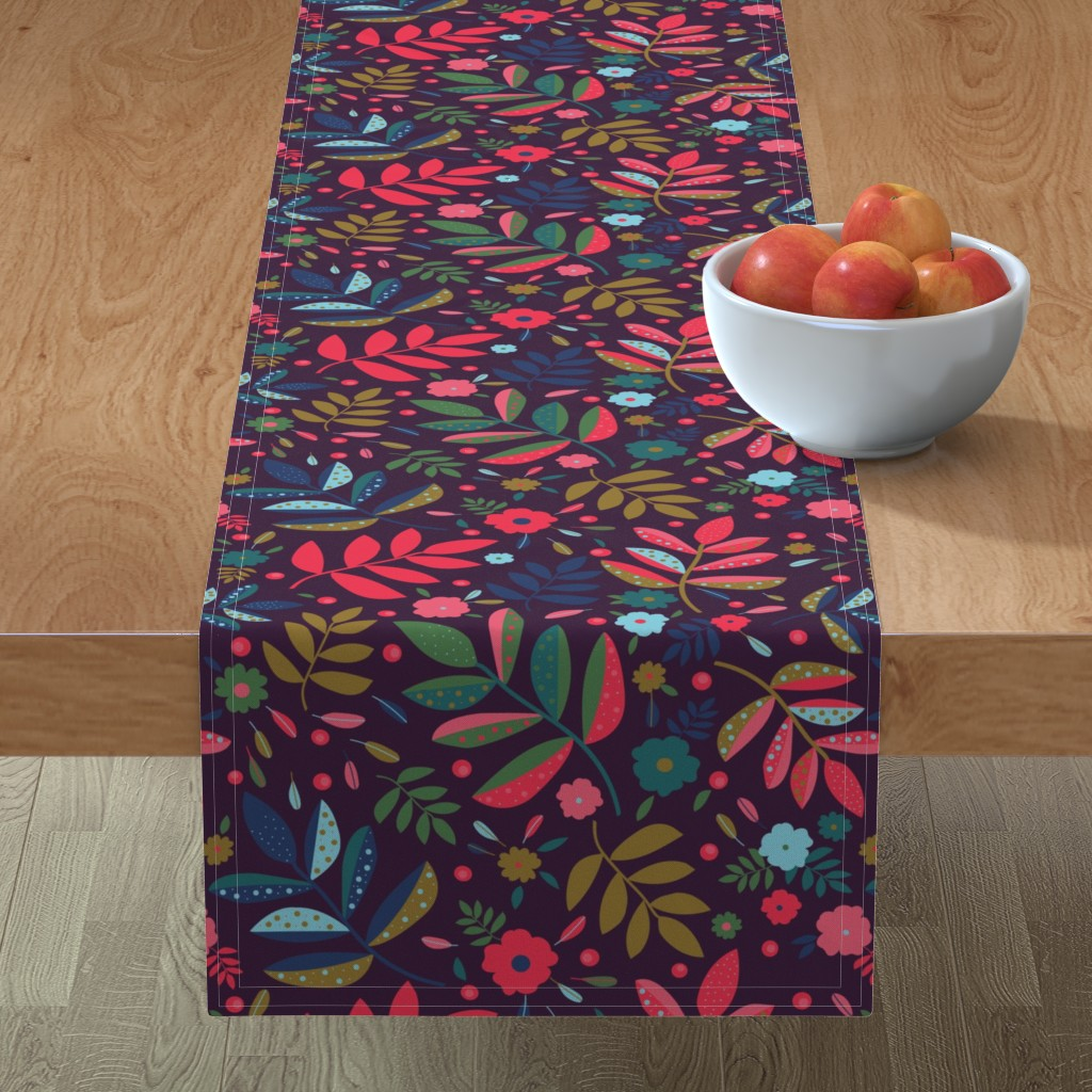 Minorca Table Runner featuring Blatt Blume Federn 02 by ms_hey_textildesign