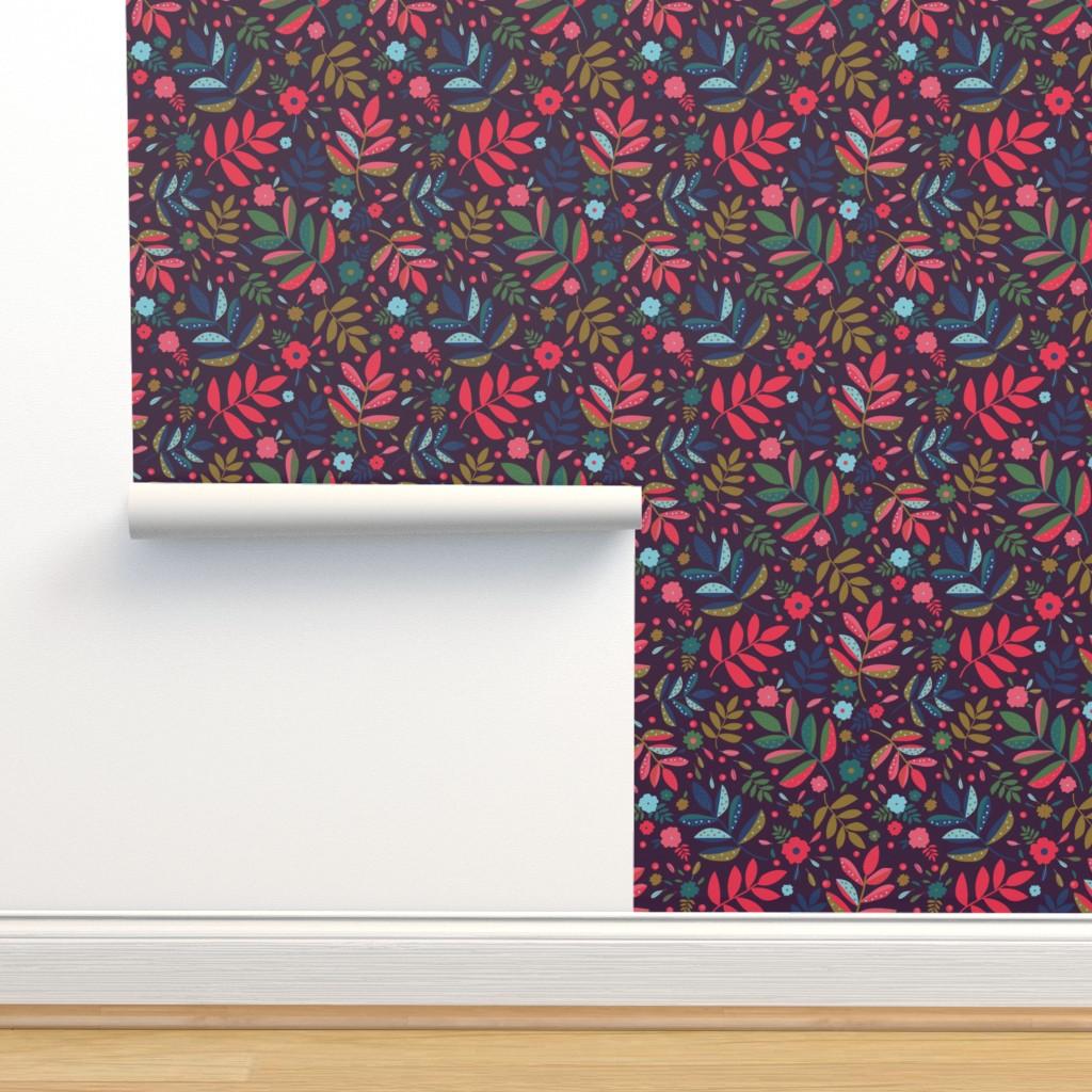 Isobar Durable Wallpaper featuring Blatt Blume Federn 02 by ms_hey_textildesign