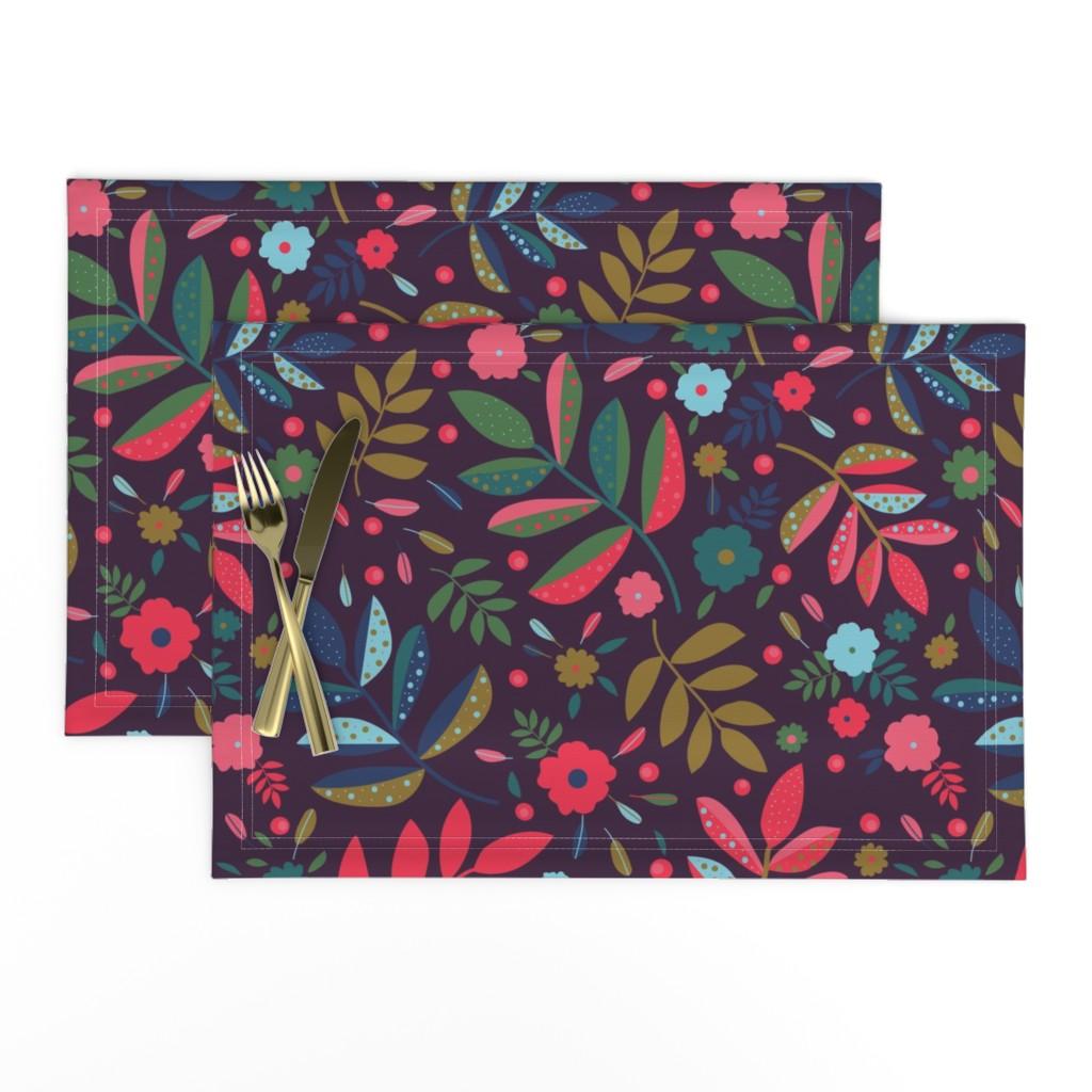 Lamona Cloth Placemats featuring Blatt Blume Federn 02 by ms_hey_textildesign