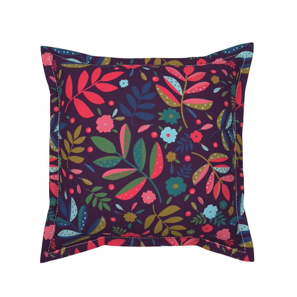 Serama Throw Pillow featuring Blatt Blume Federn 02 by ms_hey_textildesign