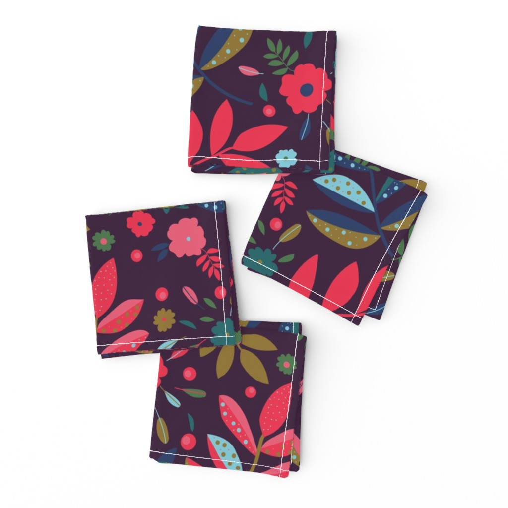 Frizzle Cocktail Napkins featuring Blatt Blume Federn 02 by ms_hey_textildesign