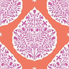 egyptian Paisley Pink and Orange