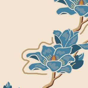 Blue Magnolias on Tan