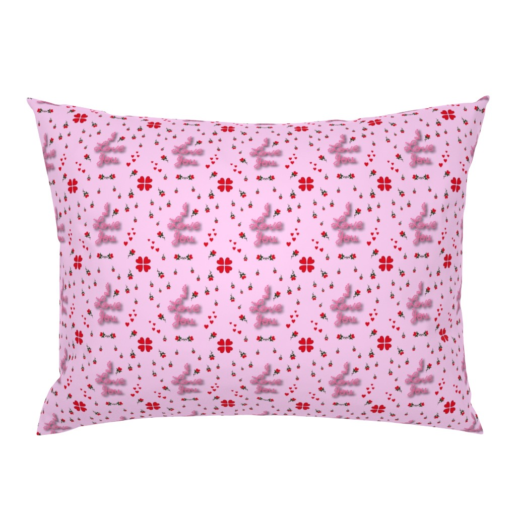 Campine Pillow Sham featuring I love you on pink by diseniaz