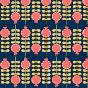 GROW - Large Coral Blossoms on Navy