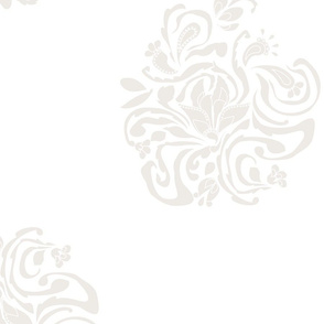 Floral Damask A Large Ivory On White
