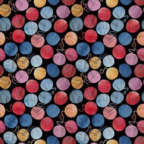 Watercolour yarn balls on black