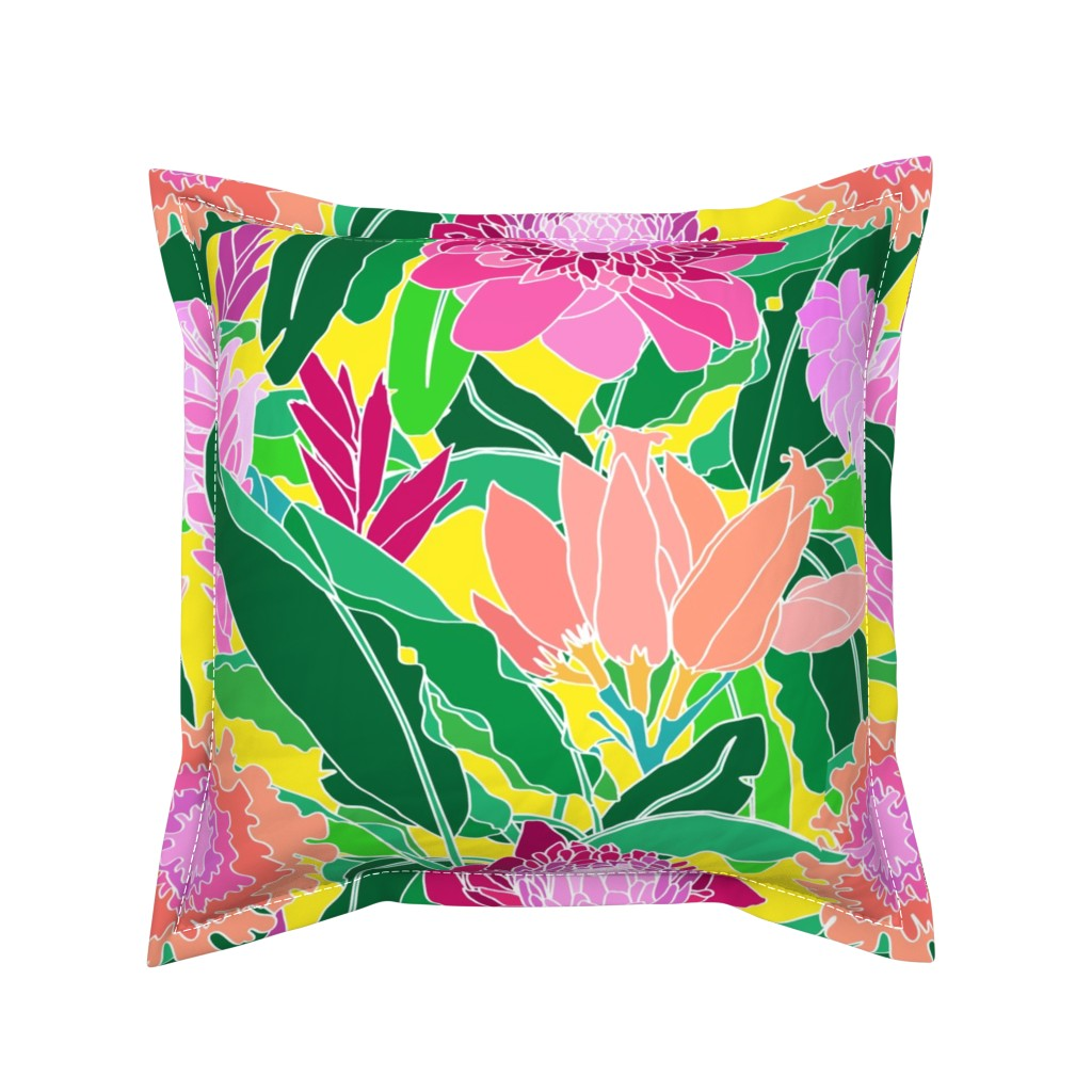Serama Throw Pillow featuring Bird of Paradise + Ginger Tropical Floral in Canary Yellow by elliottdesignfactory