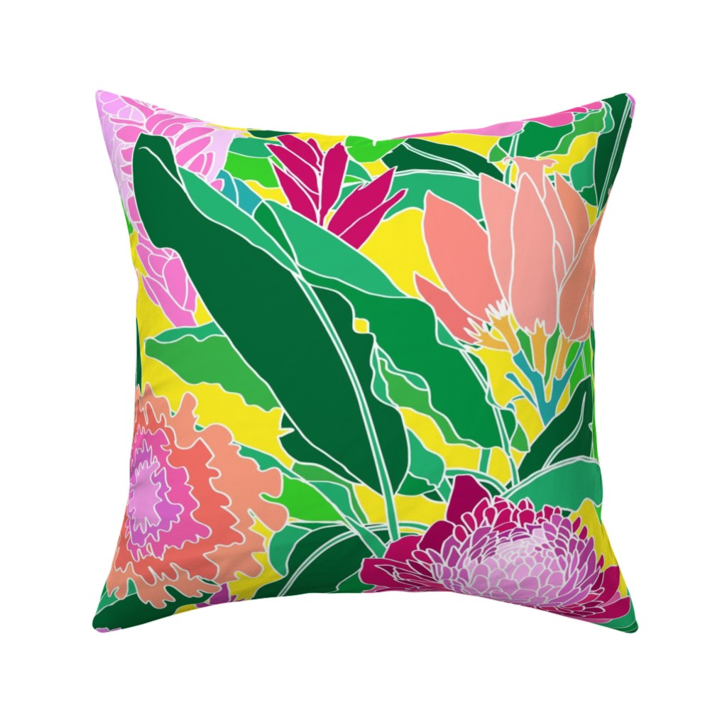 Catalan Throw Pillow featuring Bird of Paradise + Ginger Tropical Floral in Canary Yellow by elliottdesignfactory
