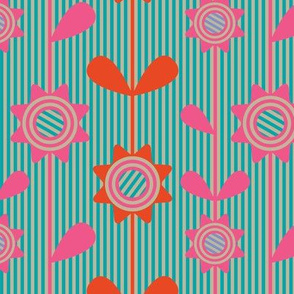 Pop Bright Striped Flowers Fuchsia Pink Orange Turquoise