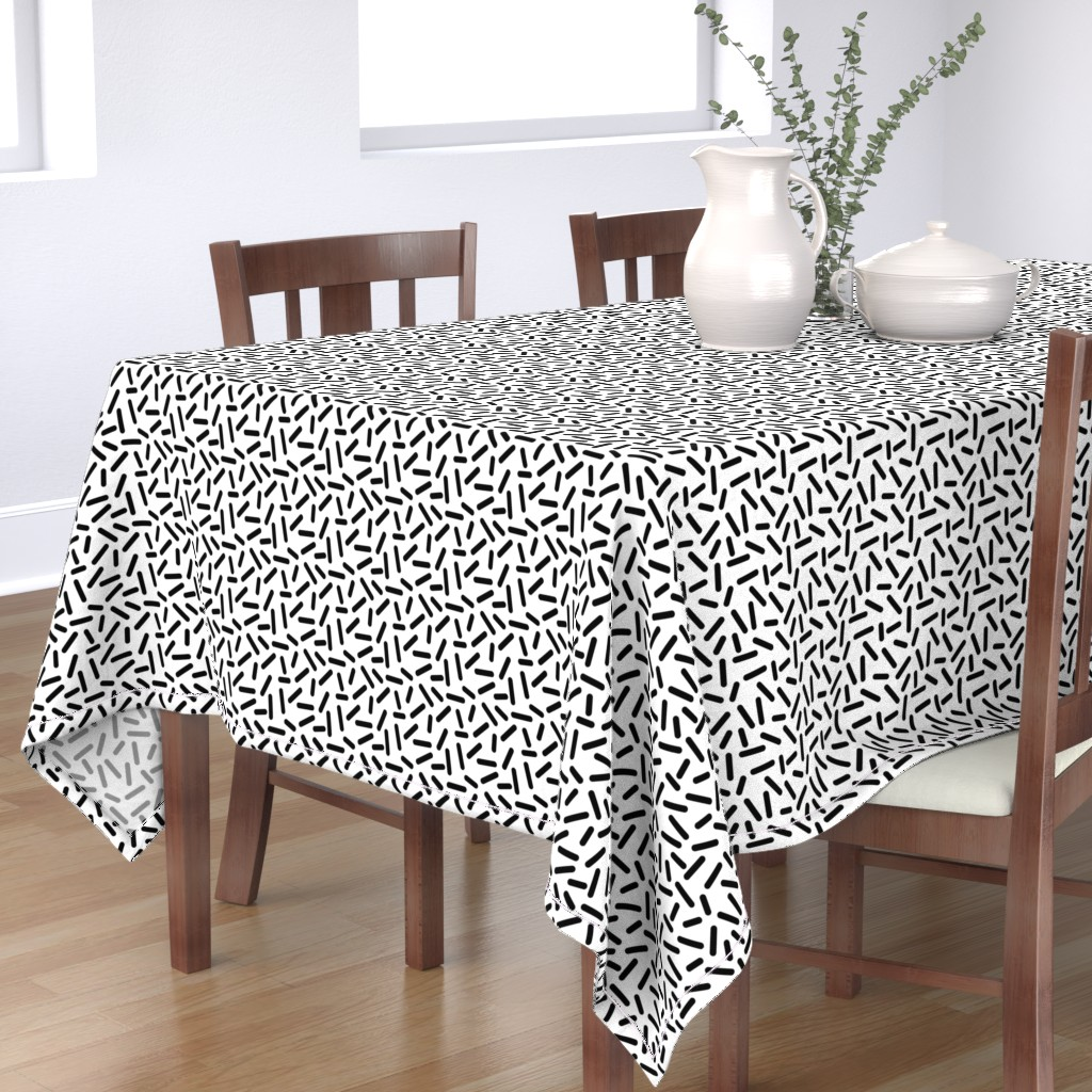 Bantam Rectangular Tablecloth featuring Sprinkles - Black & White by heatherhightdesign