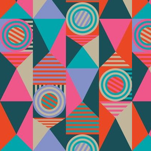 Pop Bright Geometric Circles Stripes Fuchsia Orange