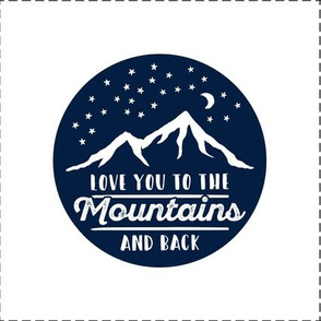 """8.5"""" quilt block (navy) - Love you to the mountains and back - with cut lines C19BS"""