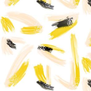 Mustard Peach and Black Brush Strokes