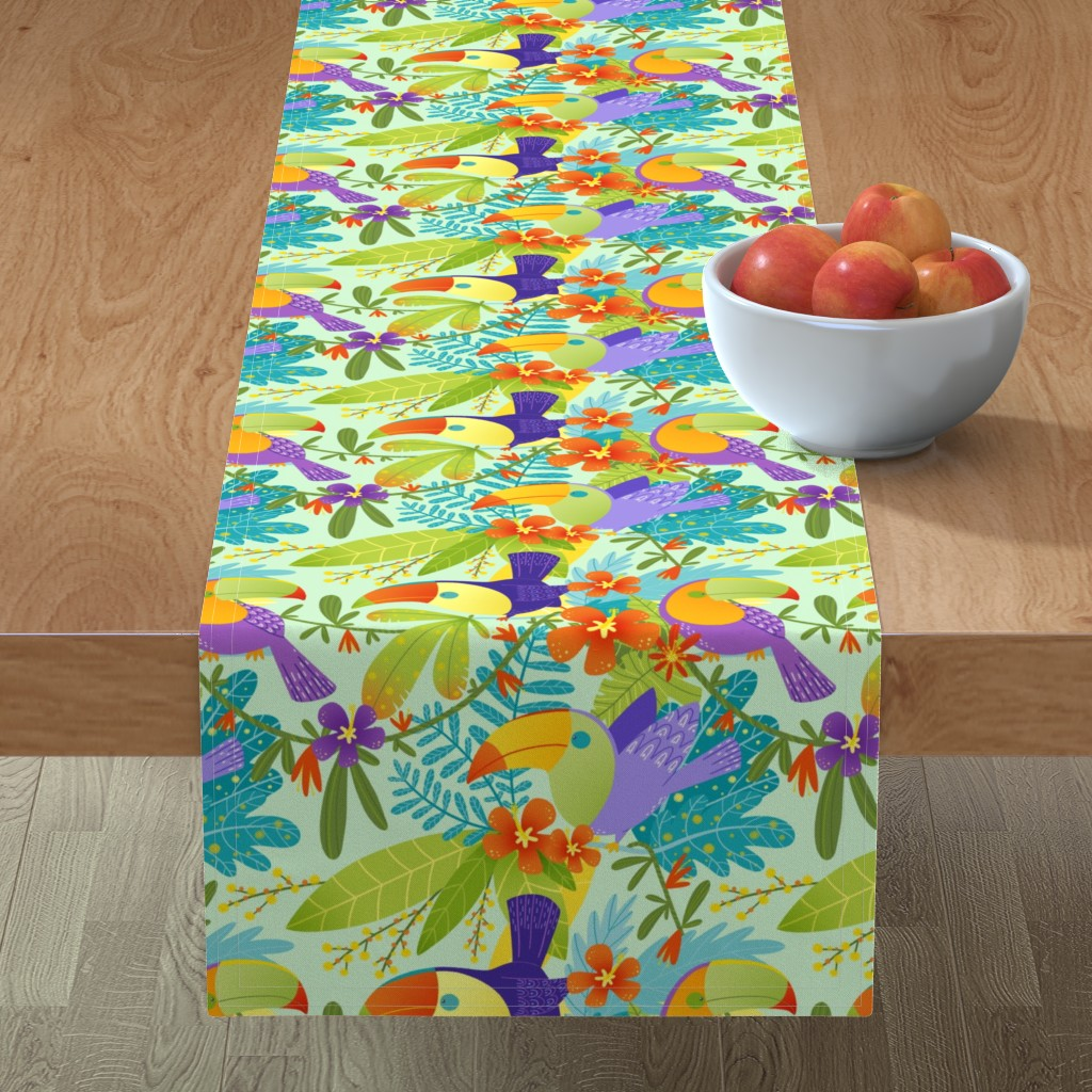 Minorca Table Runner featuring Toucan Jungle by gnoppoletta