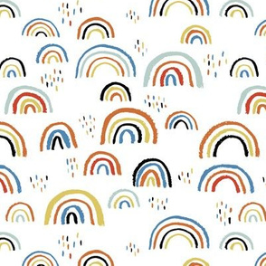 Rainbow love Scandinavian abstract rainbow clouds happy rain sky blue boys
