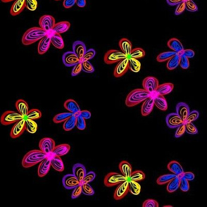Drifting Frilled Fantasy Flowers - Large Scale