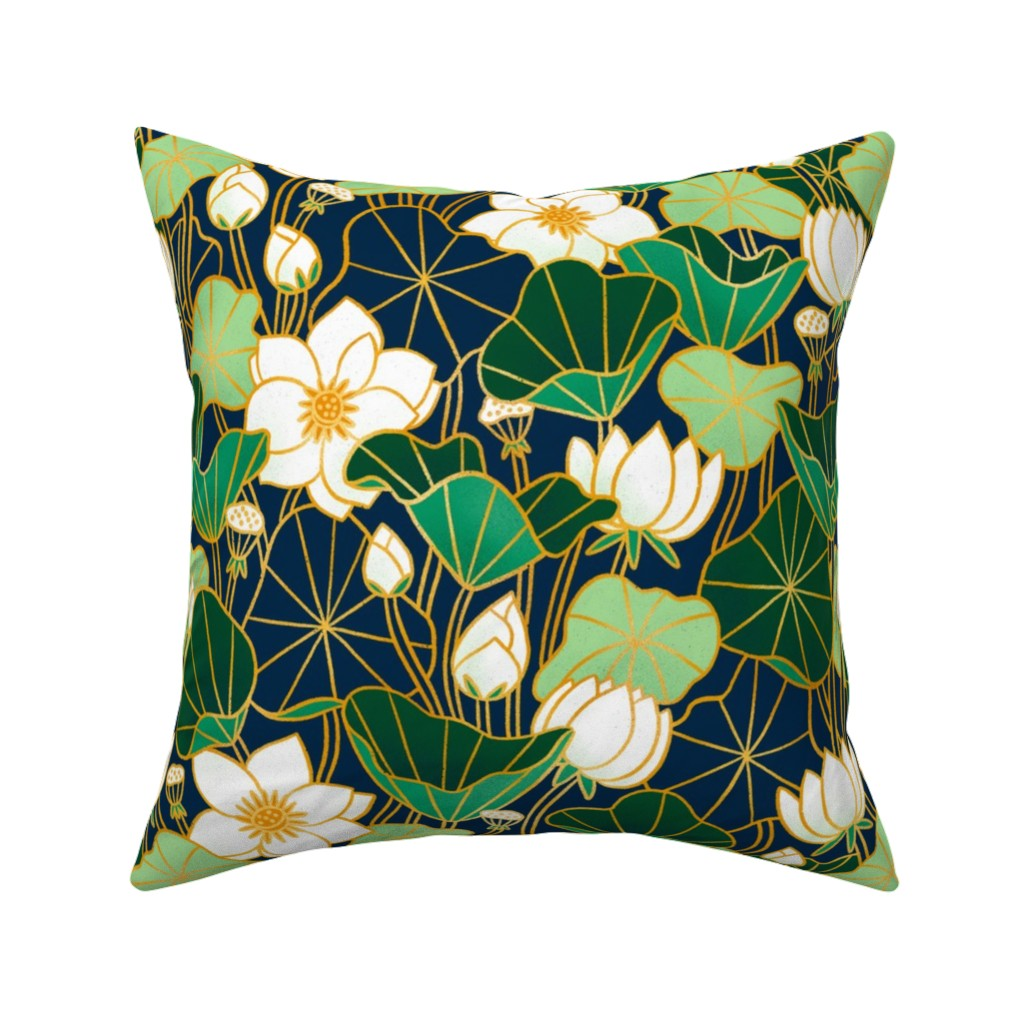 Catalan Throw Pillow featuring Lily pond by stolenpencil