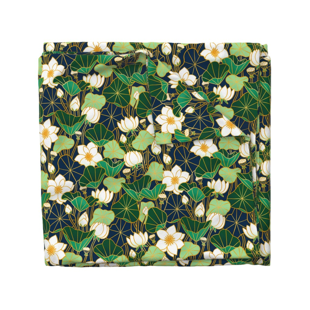 Wyandotte Duvet Cover featuring Lily pond by stolenpencil