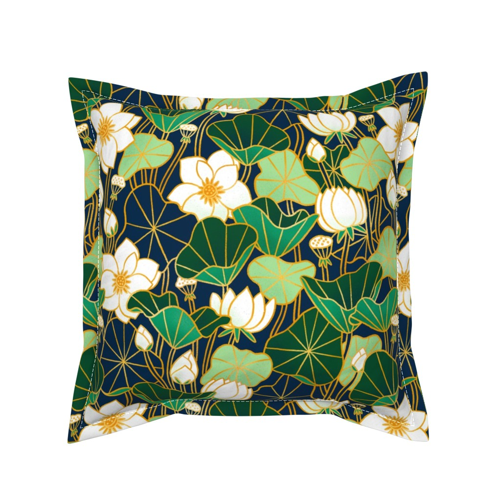 Serama Throw Pillow featuring Lily pond by stolenpencil
