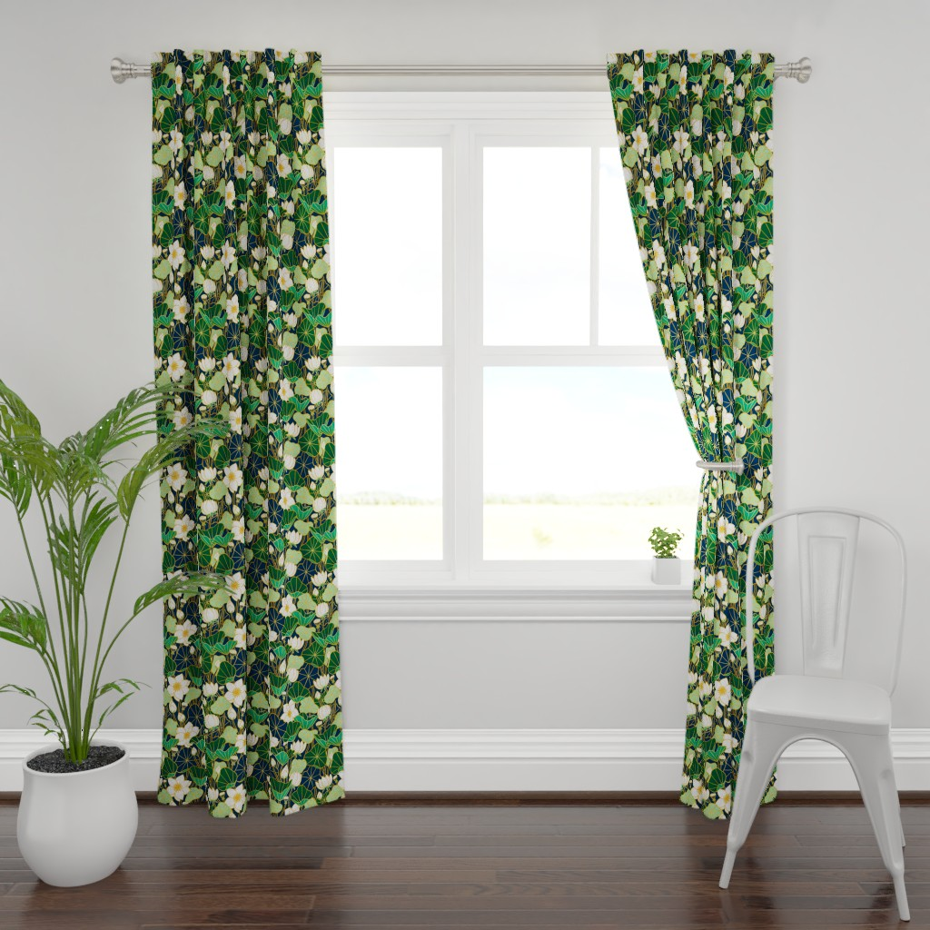 Plymouth Curtain Panel featuring Lily pond by stolenpencil