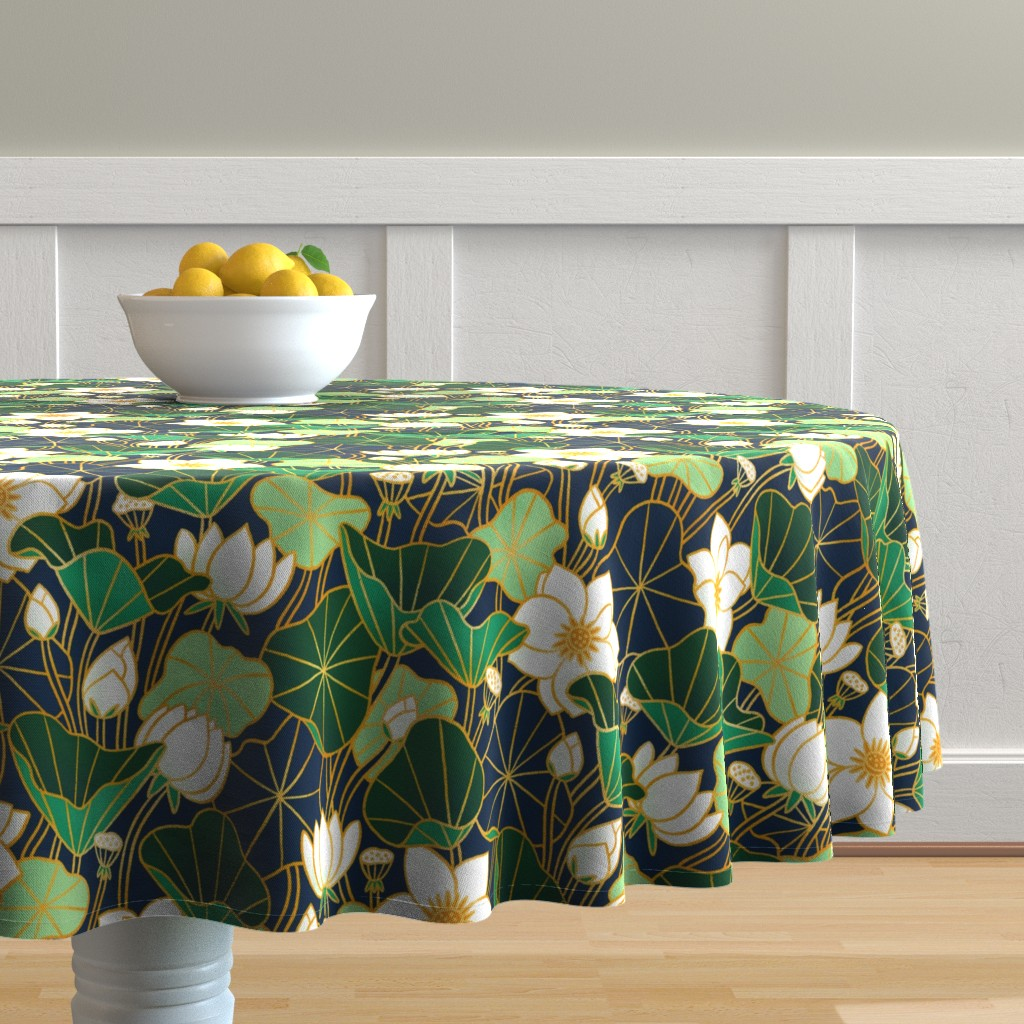 Malay Round Tablecloth featuring Lily pond by stolenpencil